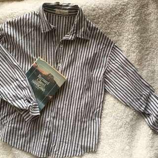 🚚 文青灰白條紋襯衫