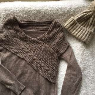 🚚 咖啡色長版針織上衣