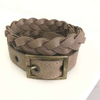 Braided Weave Slim Leather Women's Belt