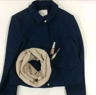 Zara jacket, witchery wool scarf, shu eumura nail polish