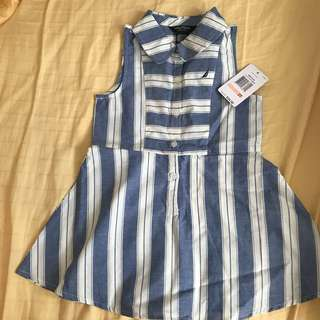(New) Nautica blue striped dress 2 years old