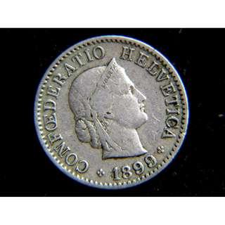 1899年瑞士聯邦(Switzerland)自由女神10勒賓(Rappen)鎳幣