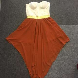 Style Staple white bustier with metallic gold waist and rust chiffon skirt