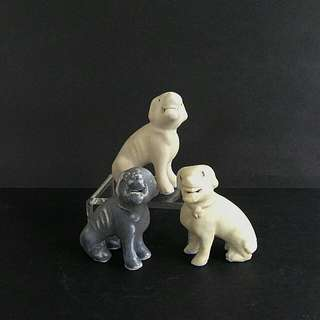 Qing Period Porcelain Chinese Export Models Of Hounds Height 5-7cm 3pieces