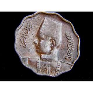 1938年埃及王國(Kingdom of Egypt)埃皇法魯克一世10米厘花形銅幣