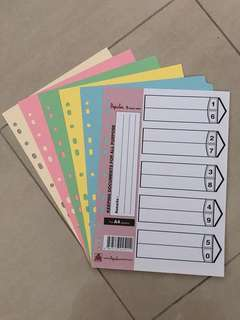 A4 file dividers