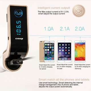 Bluetooth Car Transmitter & Charger - connect  phone/ipad/ipod/android tablet/mp3 player etc