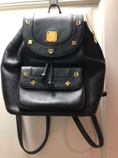 Authentic MCM black leather backpack