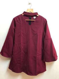Maroon Red Top with Choker Collar and Bell Sleeves