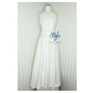 Wedding dress / gaun pengantin halter neck simple elegan