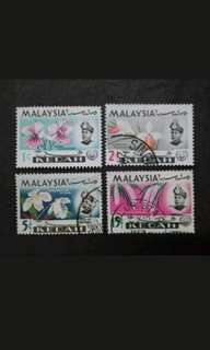 Malaysia 1965 Kedah Orchids Definitive Loose Set - 4v Used & MH Stamps