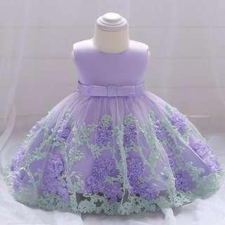 Purple Printed Flower Baby Dress