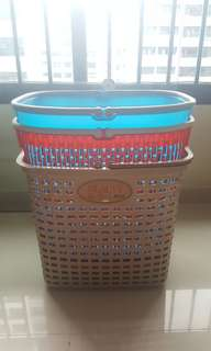 New---3 Plastic Baskets -- solid/hard/Large Capacity