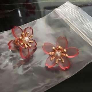 櫻花粉紅色花花耳環