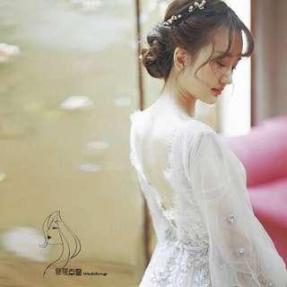(◕‿◕)2018新款拖尾v领簡約長袖夢幻系公主婚紗