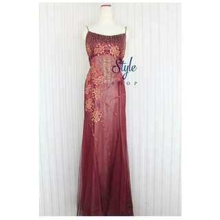 Long dress/ gaun pesta merah maroon kode 8032
