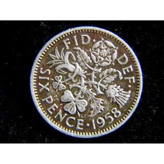 1958年大英帝國四國花6便士(Pence)鎳幣(英女皇伊莉莎伯二世像)