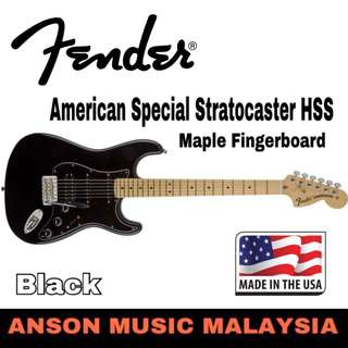Fender American Special Stratocaster HSS Electric Guitar, Maple Fingerboard, Black