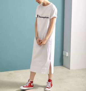 🚚 OshareGirl 05 歐美最新立體logo純色棉短袖T恤長版上衣連身裙