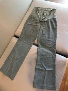 Gray Straight Cut Maternity Pants