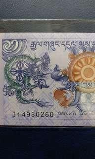2013年 不丹 1努爾特魯姆 (龍鈔) 全新直版
