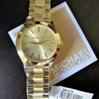 Michael Kors Slim Runway Ladies Watch Gold Authentic