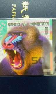 2016年 澳洲 猴年生肖鈔 堪培拉銀行 50元 塑膠鈔 全新直版