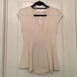 Aritzia/Wilfred White Peplum Top/Blouse (Small)