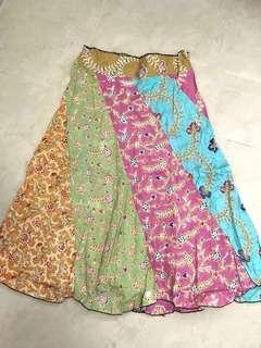 Multi prints & colours batik A line ankle length long skirt