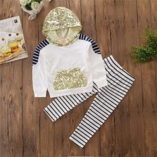 Toddler Kids Girls Cotton Hooded T Shirt Tops Hoodie + Pants Outfits Set Clothes