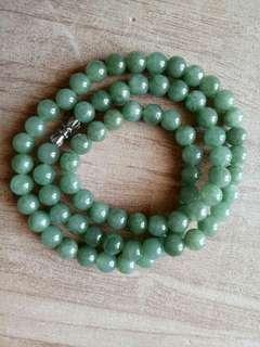 🚚 天然翡翠油青玉珠項鍊