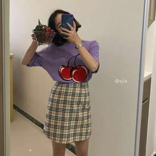 🌸[PO] Cherry Shirt & Yellow Plaid Skirt
