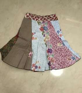 Mini Mixed Batik Multi coloured batik knee length kirt for girls