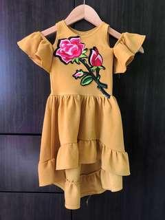 Mustard Cold Shoulders Dress