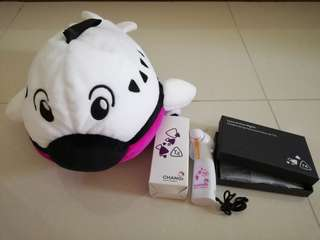 T4 Changi Airport collectibles - travel pillow, fan, coin pouch