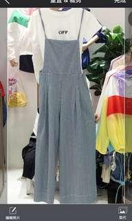 🚚 藍條紋學院風吊帶褲