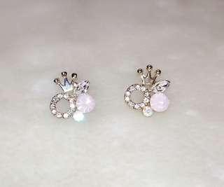 Crown Golden Plated Rhinestone Crystal Stud Earring
