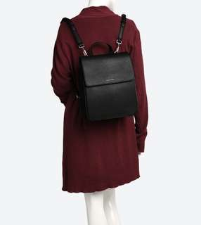 Charles & Keith Black Leather Backpack