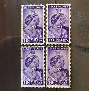 Malaya straits king George silver wedding 4v diff States stamps