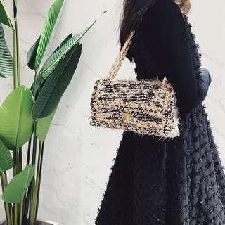 Tweed Chain Sling Crossbody Flap Handbag