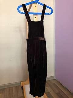 Zara Girl Chocolate Velvet Jumpsuit