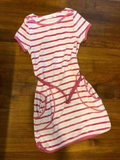 BN Chateau de Sable Striped Pink Dress w Belt 12Y