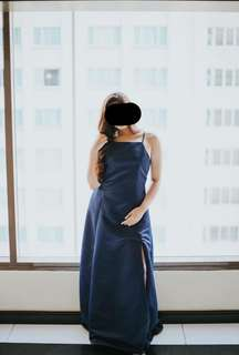 MIDNIGHT BLUE GOWN WITH SLIT AND TRAIL FOR RENT