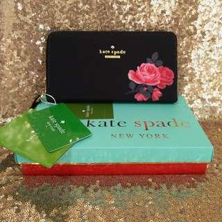 SALE! KATE SPADE Wallet Black Floral Design Branded OOTD Clutch Summer Style Premium
