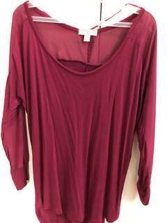 Cotton On Maroon Top with Sheer Sleeves