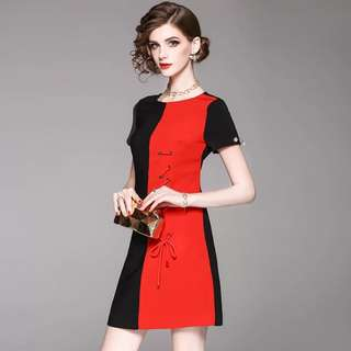 Contrast coloured pearl button dress