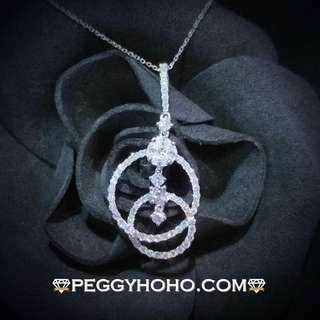 【Peggyhoho】全新18K白金 1卡8份閃爆鑽石活動吊墜  超值大睇吊墜  活動搖擺