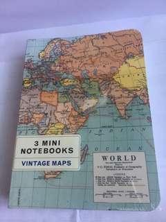 3 Mini Notebook - Vintage maps
