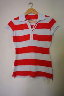 Red and White Striped Poloshirt