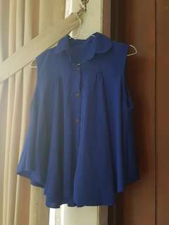 Royal blue sleeveless button up